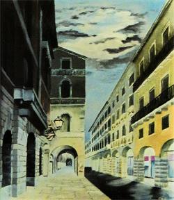 Corso Palladio sotto la luna - olio su tela (cm. 50 x 70)